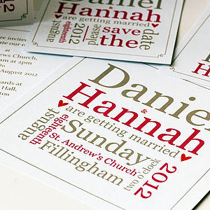 Personalised Typographic Wedding Stationery - save the date cards