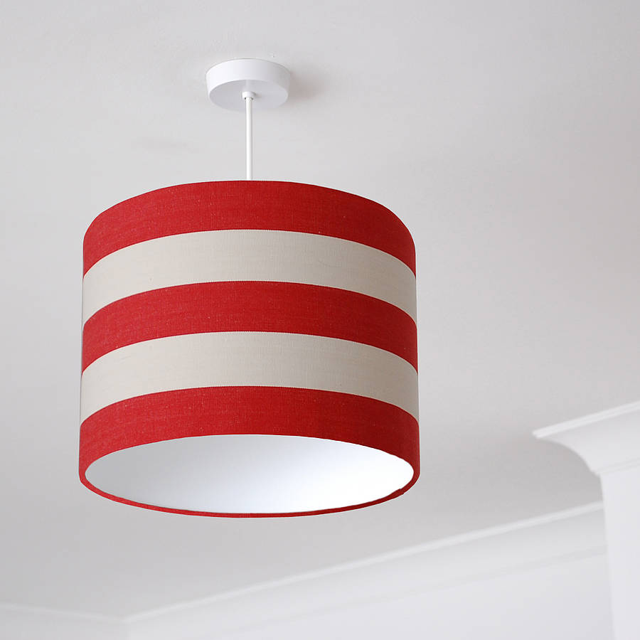 Red and white deckchair stripe lampshade by quirk red and white deckchair stripe lampshade mozeypictures Image collections