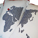 Personalised Ivory World Map Set of Three Cushions