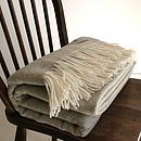 Sage Herringbone Pure Wool Throw
