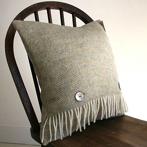 Sage Herringbone Pure Wool Cushion