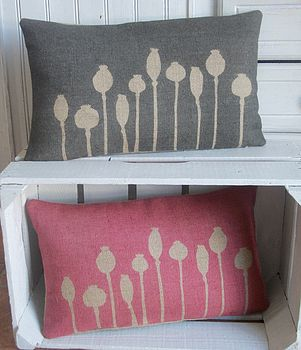 Poppy Seed Head Printed Hessian Cushion
