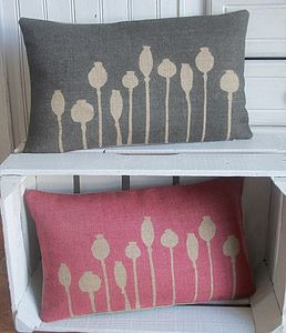 ' Poppy Seed Head ' Cushion - bedroom