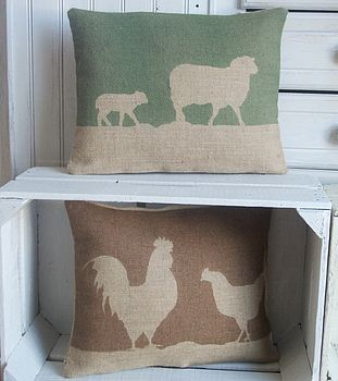 Country Farm Printed Hessian Cushion