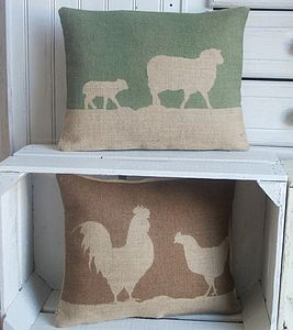 Country Farm Printed Hessian Cushion - cushions