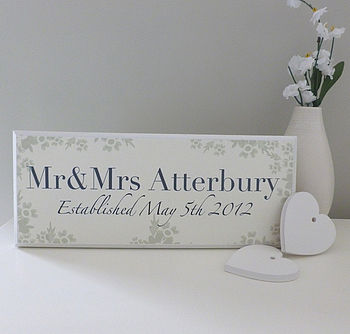 cottage floral mr and mrs name sign