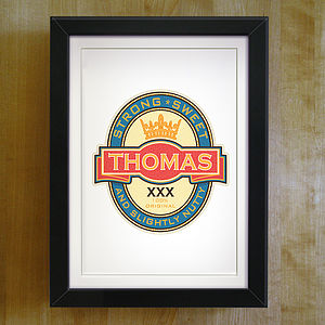 Personalised Beer Label Print - gifts for fathers