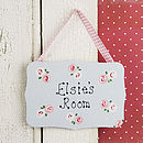 Girl's Personalised Rose Door Plaque Sign