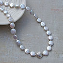 White Coin Pearl And Silver Necklace