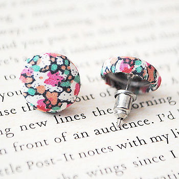 Liberty Fabric Button Earrings