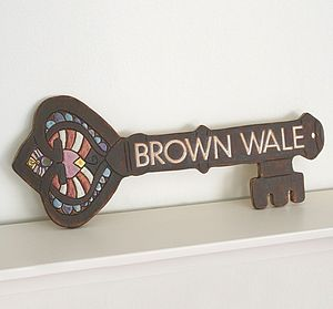 Personalised Antique Key House Sign - art & decorations