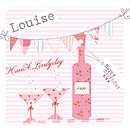 floral wine bottle and bunting