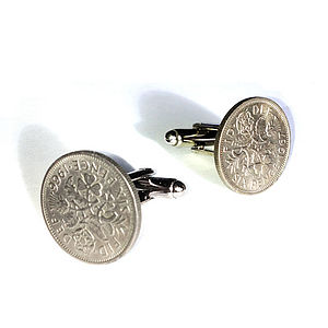 Lucky Sixpence Coin Cufflinks - women's accessories