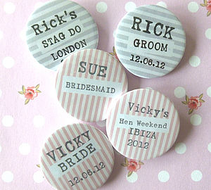 Personalised Striped Badge - hen party styling