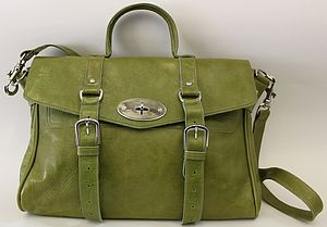 Pale Green Leather Satchel Handbag - bags