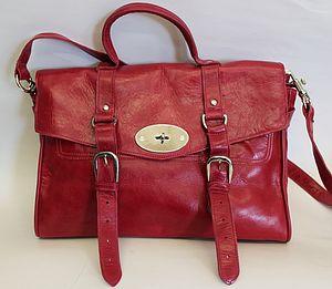 Red Leather Satchel Handbag