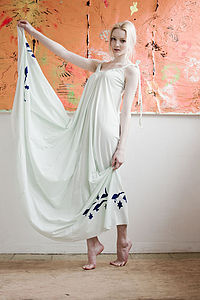 Hand Printed Tuquoise Swan Star Maxi Dress - dresses & skirts