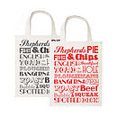 English Dinner Canvas Bag