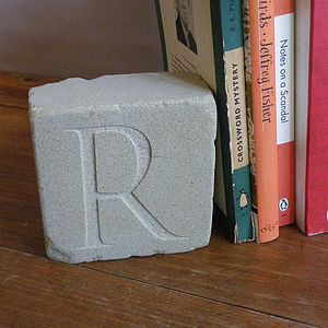 Pair Of Engraved Initial Bookends - children's room
