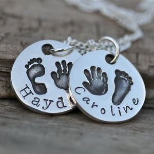 Personalised Double Hand/Footprint Necklace