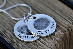 Two Coin Fingerprint Necklace