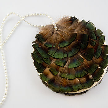 Esther Pheasant Feather Bridal Purse