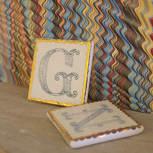 Ceramic Initial Tile - outdoor decorations