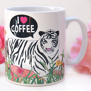 I Love Coffee Tiger Mug