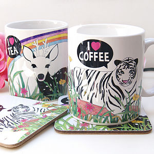 I Love Tea And Coffee Mug Set Of Two