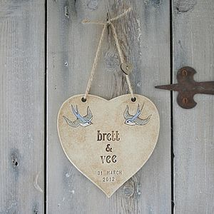 Personalised Wedding Heart With Sparrows - outdoor decorations