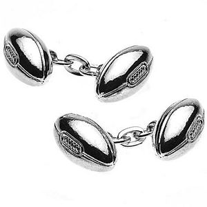 Silver Plated Rugby Ball Cufflinks - cufflinks