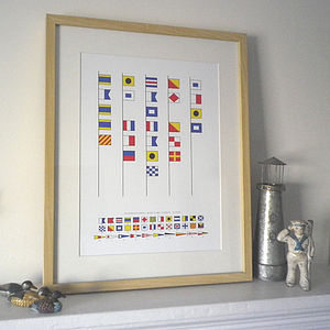 Daddy Is The Captain Of Our Ship Signal Flags Print