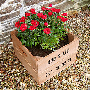 Personalised Anniversary Square Planter Crate - 30th anniversary: pearl