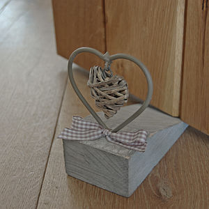 Door Wedge With Wicker Heart - decorative accessories
