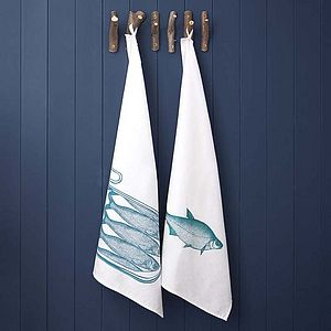 Linen Union Fish Tea Towel - kitchen accessories