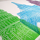 Architecture linoprint - close-up