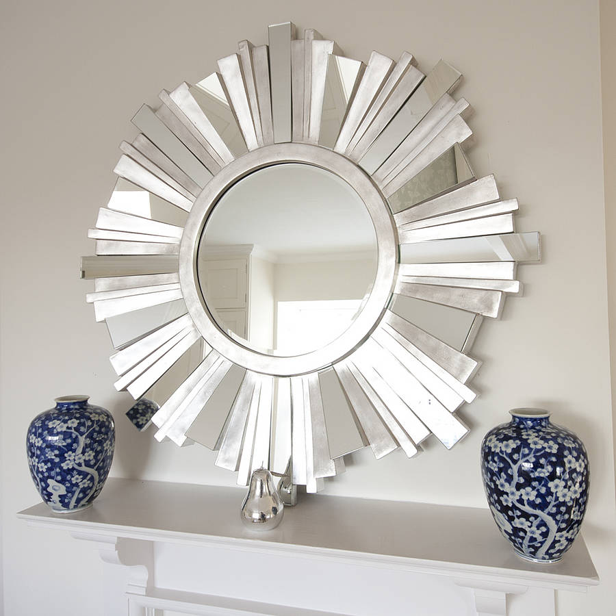 Striking silver contemporary mirror by decorative mirrors for Miroirs decoratif