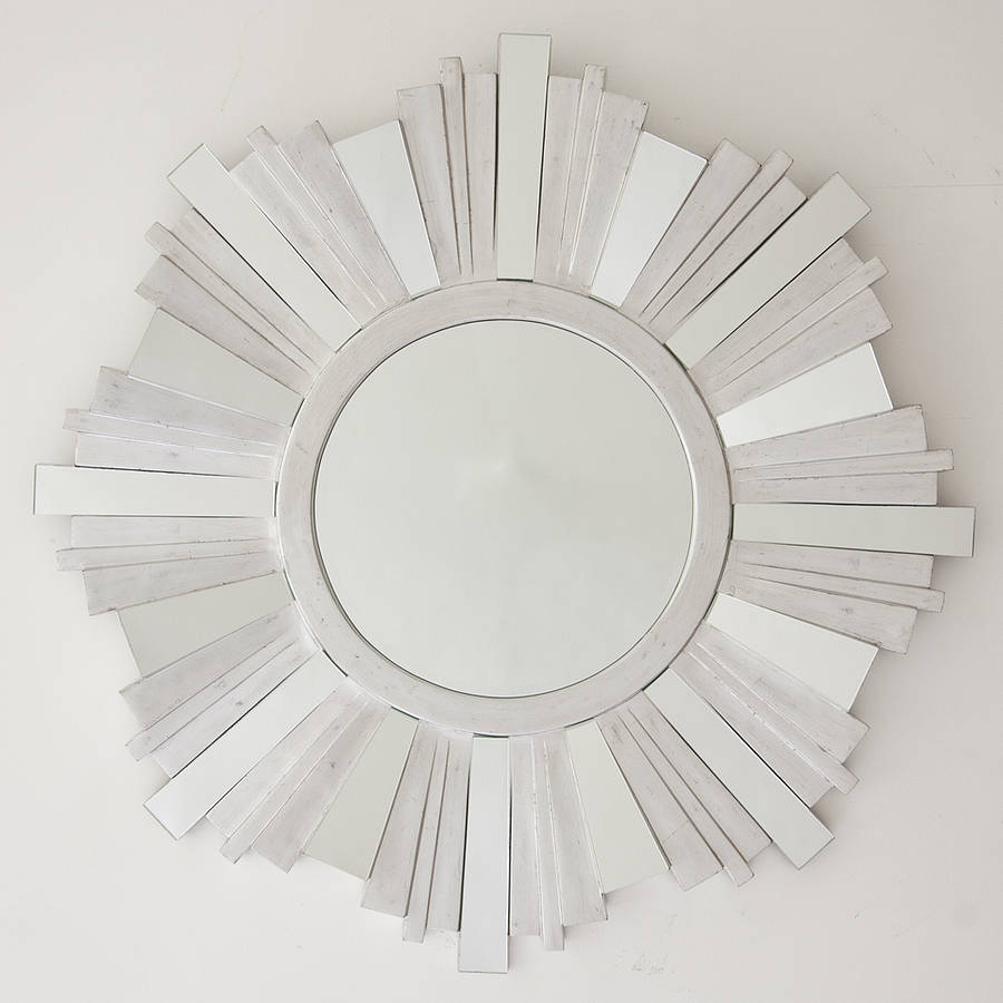 Striking silver contemporary mirror by decorative mirrors for Large silver modern mirror