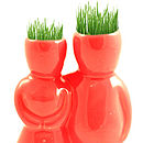 Ceramic Couple Grass Head Grower Red
