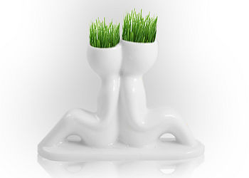 Ceramic Couple White Grass Head Grower