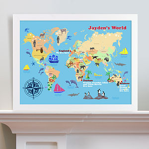 Personalised Child's World Map Print - posters & prints for children