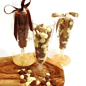 Belgian Chocolate Drops In Champagne Glass - wedding favours