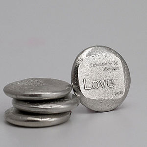 Cast Pewter Love Message Tokens - wedding favours