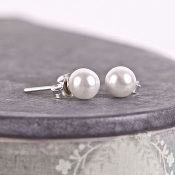 Pearl Silver Stud Earrings