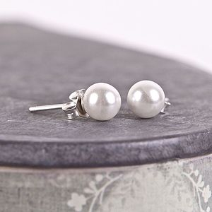 Pearl Silver Stud Earrings - earrings
