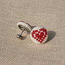 Cross Stitch Double Heart Stud Earrings