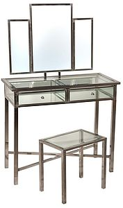Industrial Style Metal And Glass Dressing Table - furniture