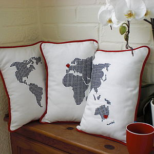 Set Of Three Embroidered World Map Cushions - bedroom