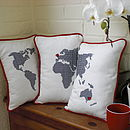 Embroidered World Map Set of Three Cushions