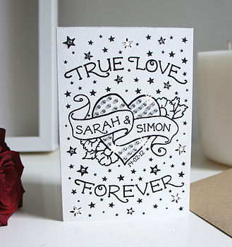 Personalised True Love Card With Diamante